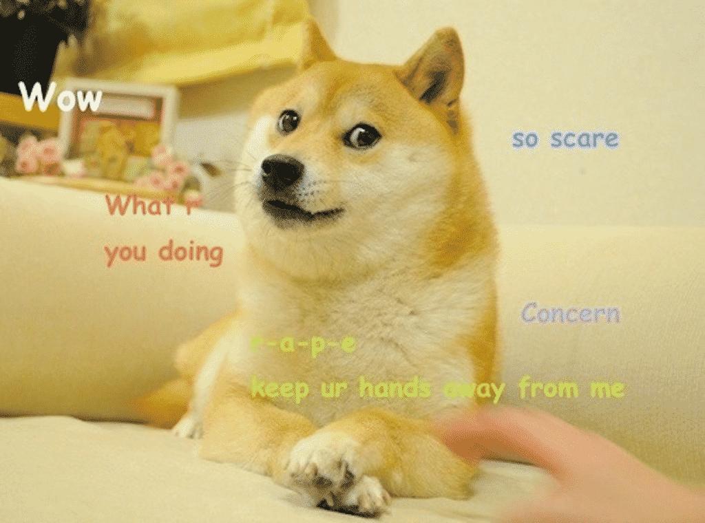 """Chien inu représentant l""""emblème de Dogecoin"""