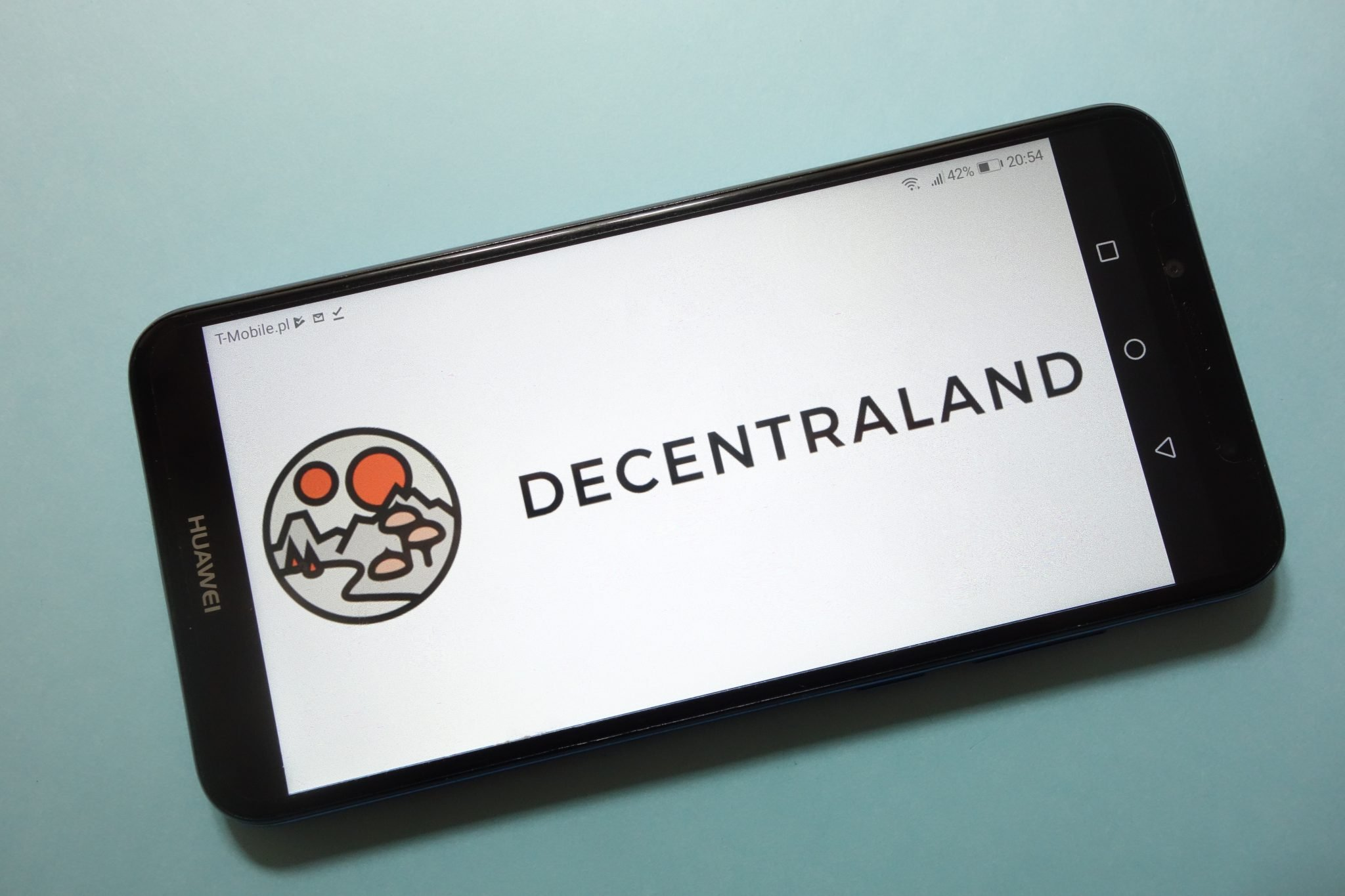 KONSKIE, POLAND - November 17, 2018: Decentraland (MANA) cryptocurrency logo displayed on smartphone