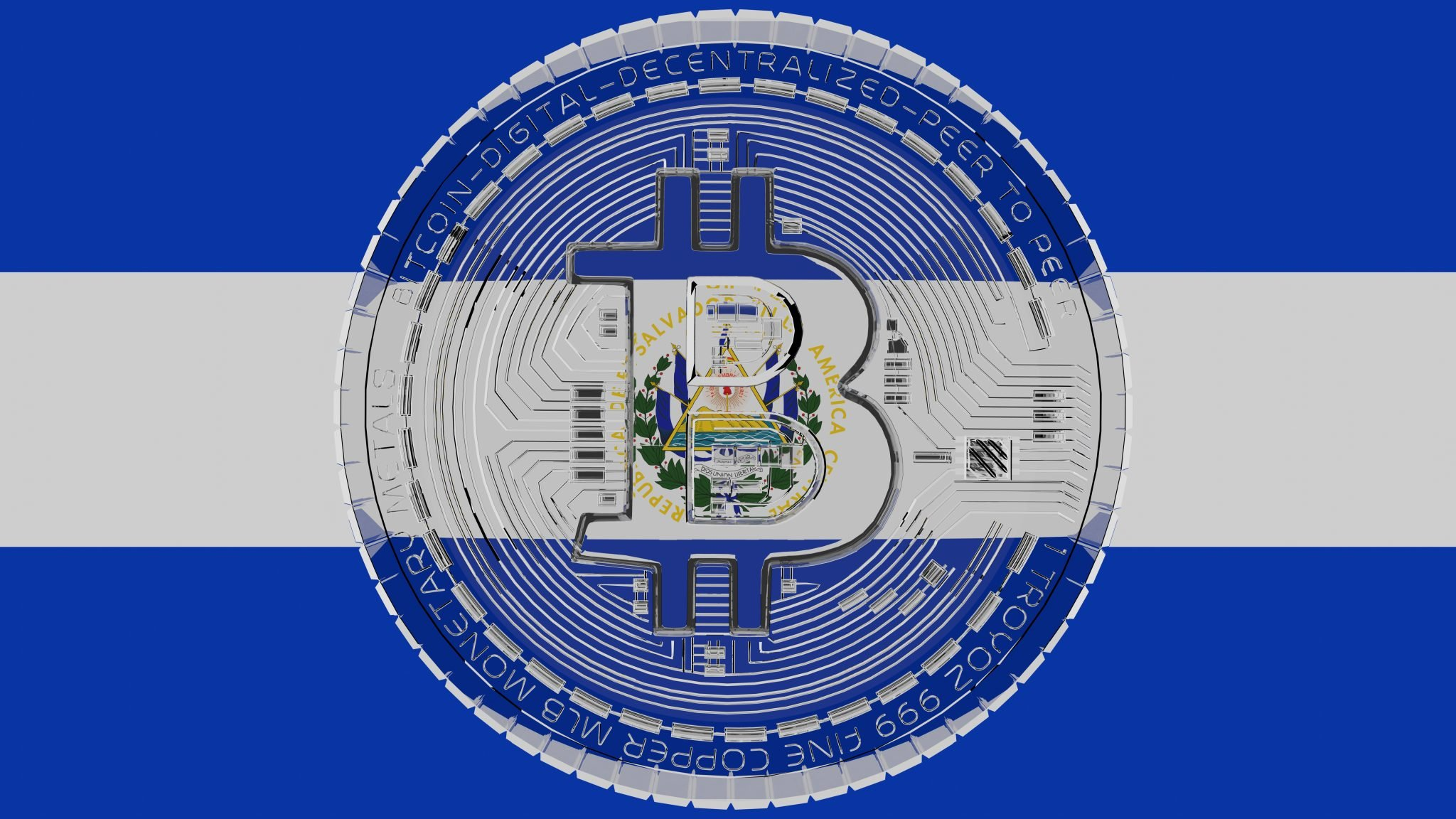 Large transparent Glass Bitcoin in center and on top of the Country Flag of El Salvador