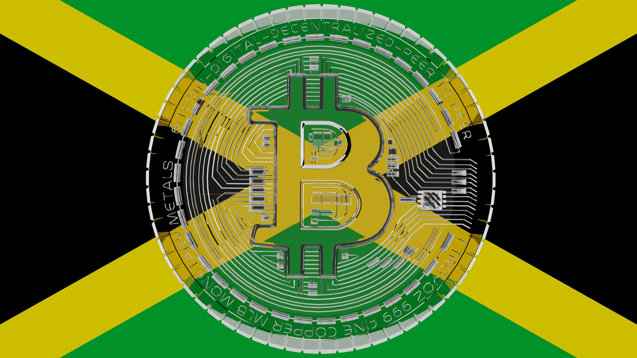 Large transparent Glass Bitcoin in center and on top of the Country Flag of Jamaica
