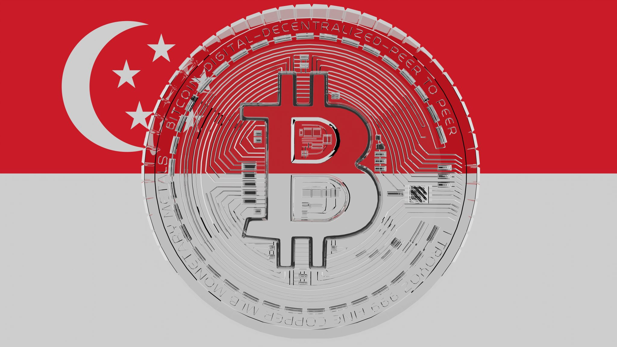 Large transparent Glass Bitcoin in center and on top of the Country Flag of Singapore
