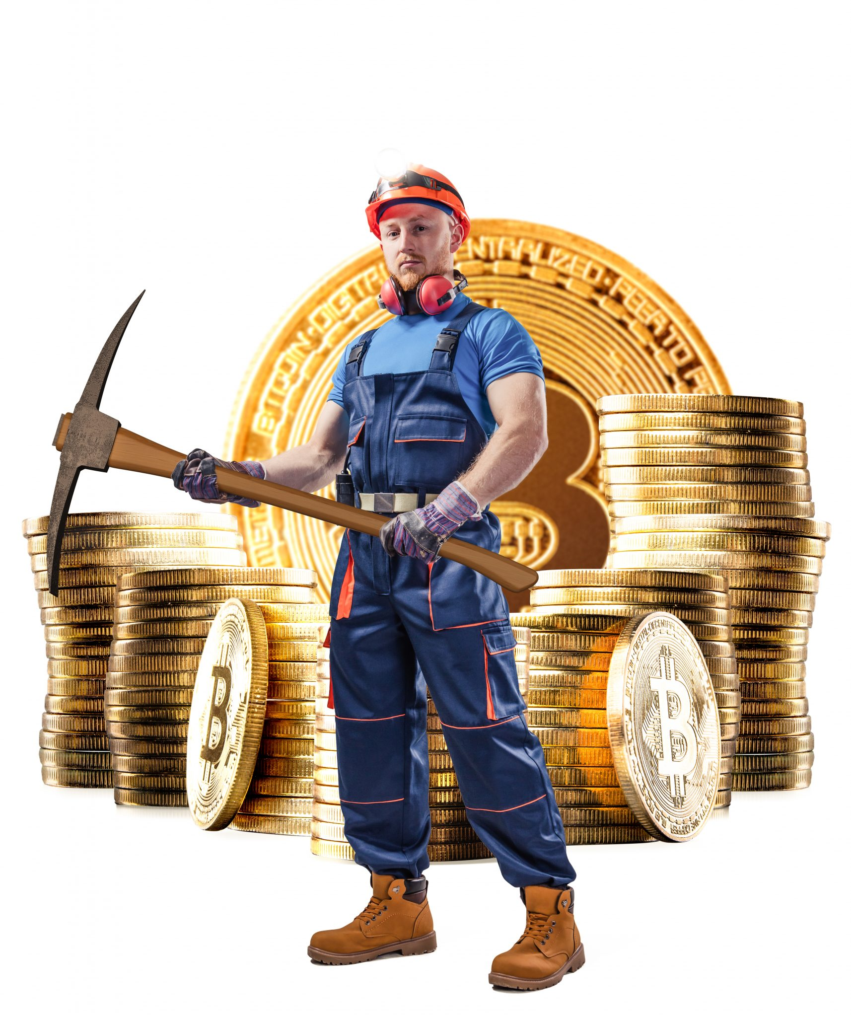 Macro view of miner. Devices and technology for mining cryptocurrency. Mining cryptocurrency concept.
