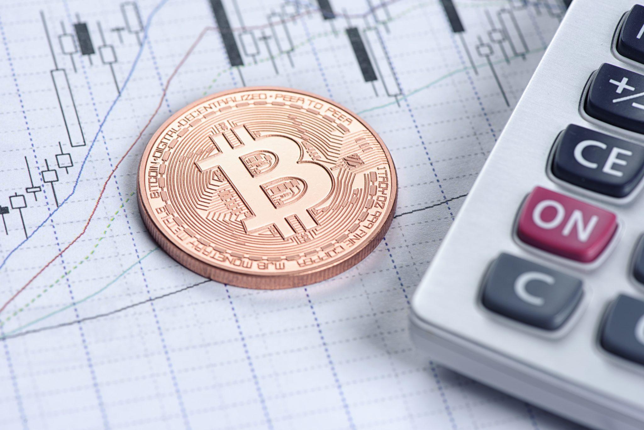 metal coin of Bitcoin