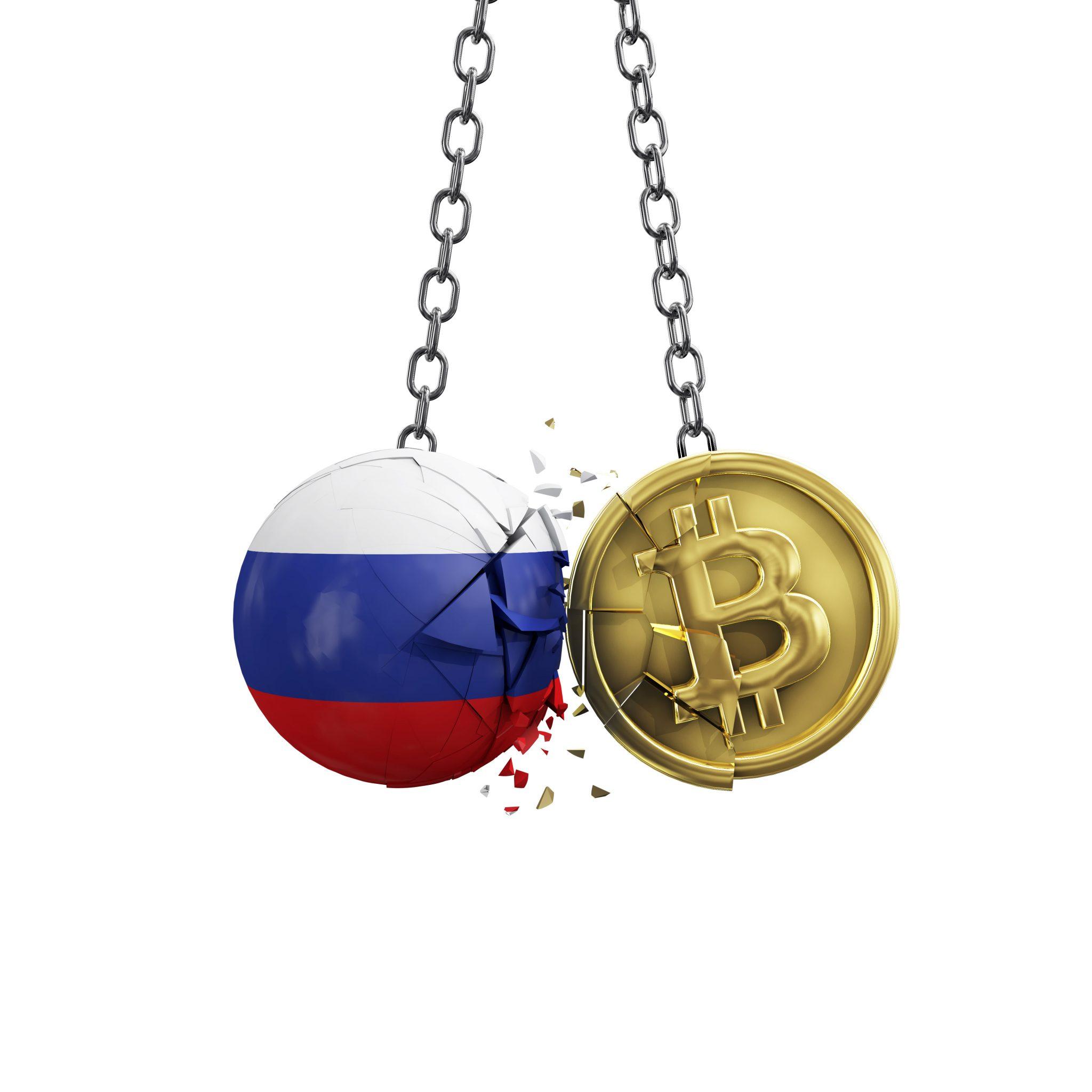 Russia flag smashing into a gold bitcoin crypto coin. 3D Rendering