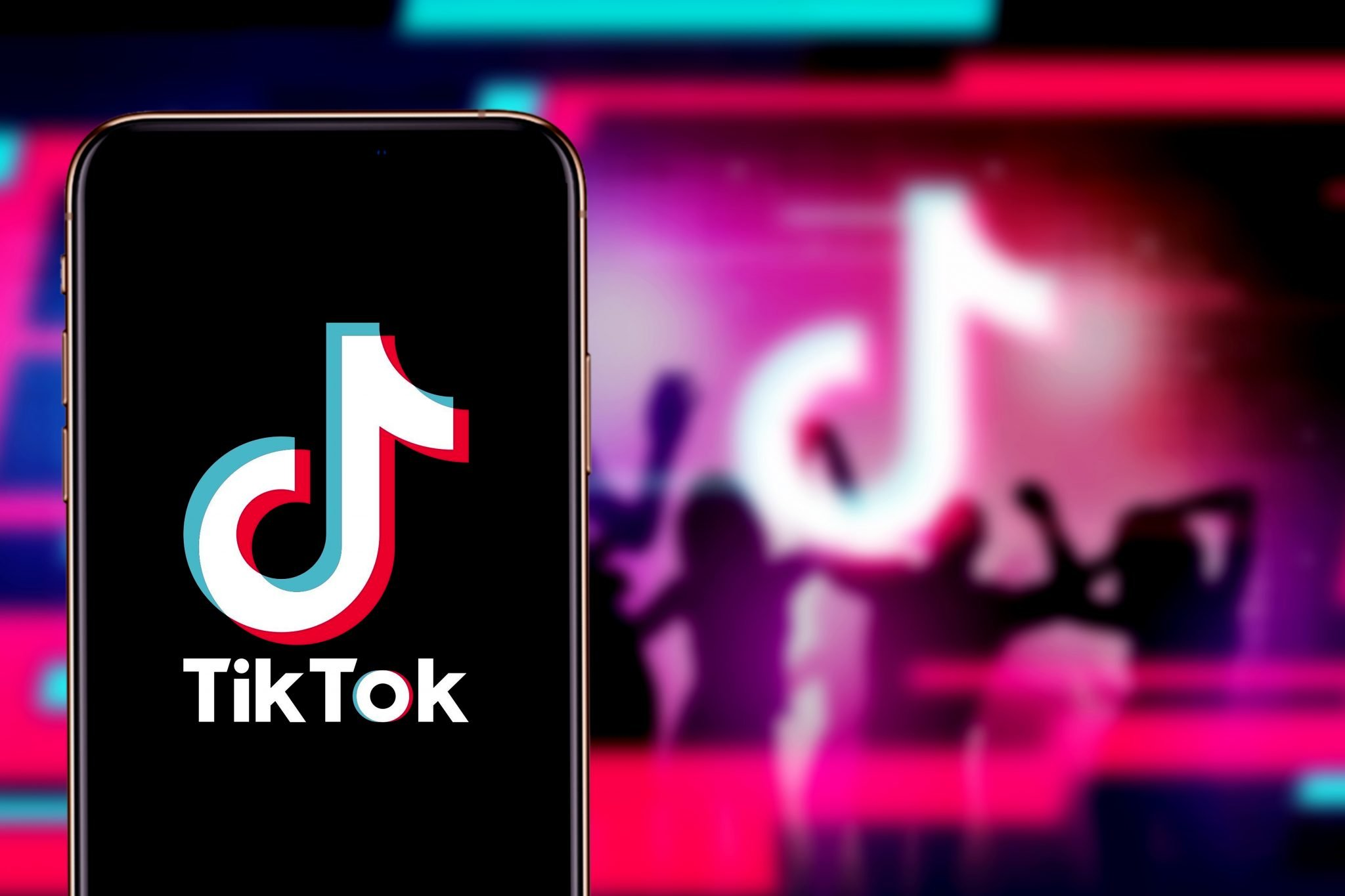 Smart phone with TIK TOK logo, which is a popular social network on the internet.United States, Canada, Wednesday, November 27, 2020
