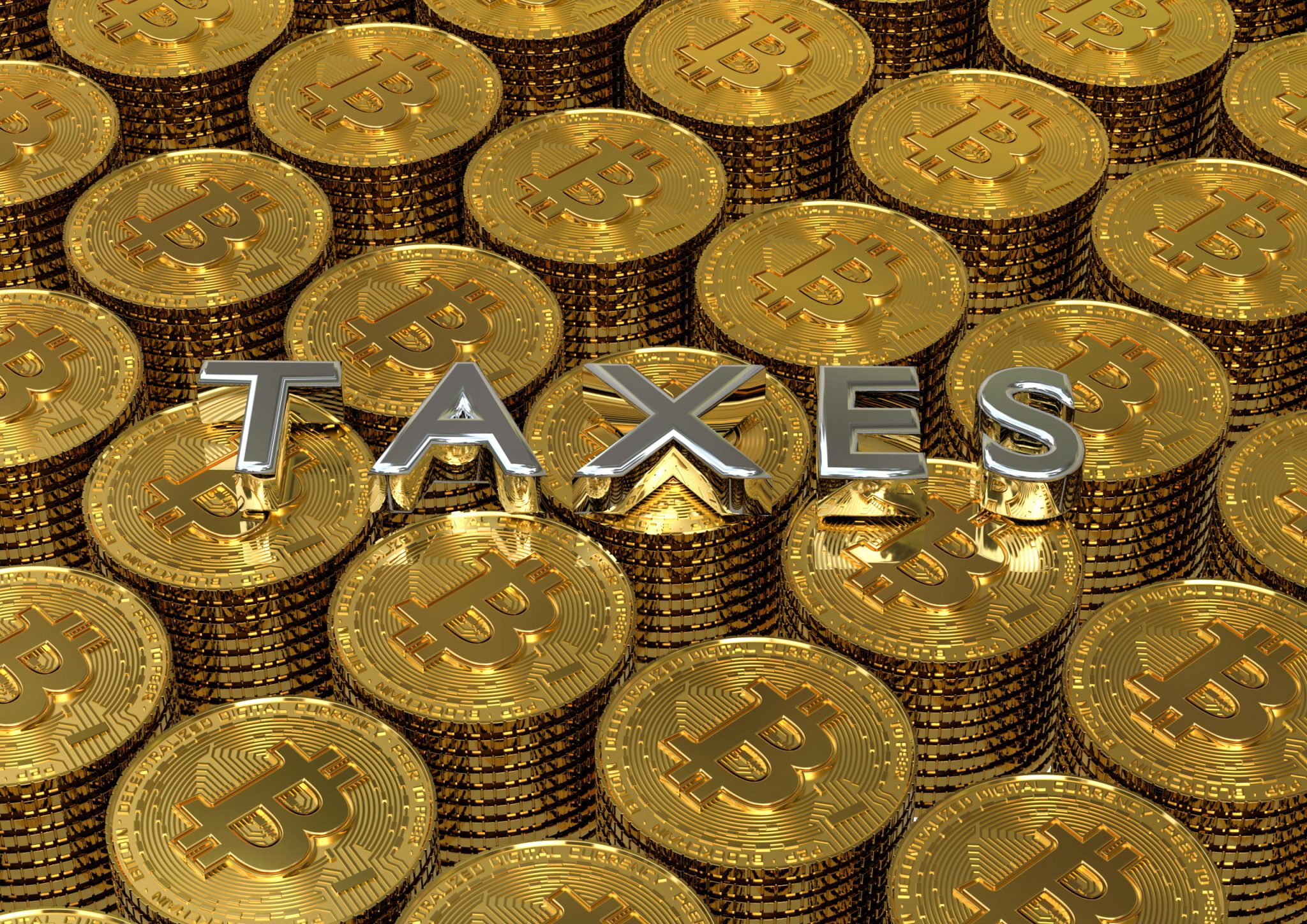 3D render image of a pile of coins with the text tax on top representing crypto taxes