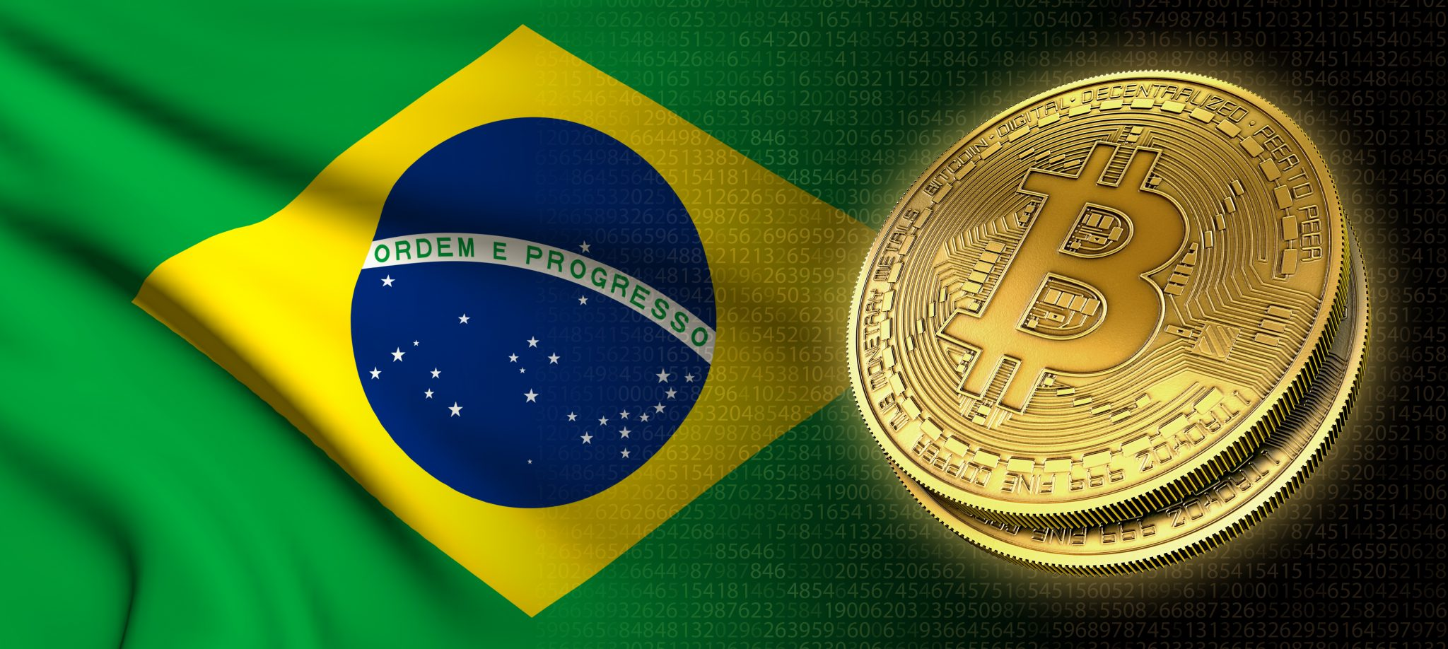3D rendering: Bitcoin cryptocurrency coin with the national flag of Brazil, on a black background