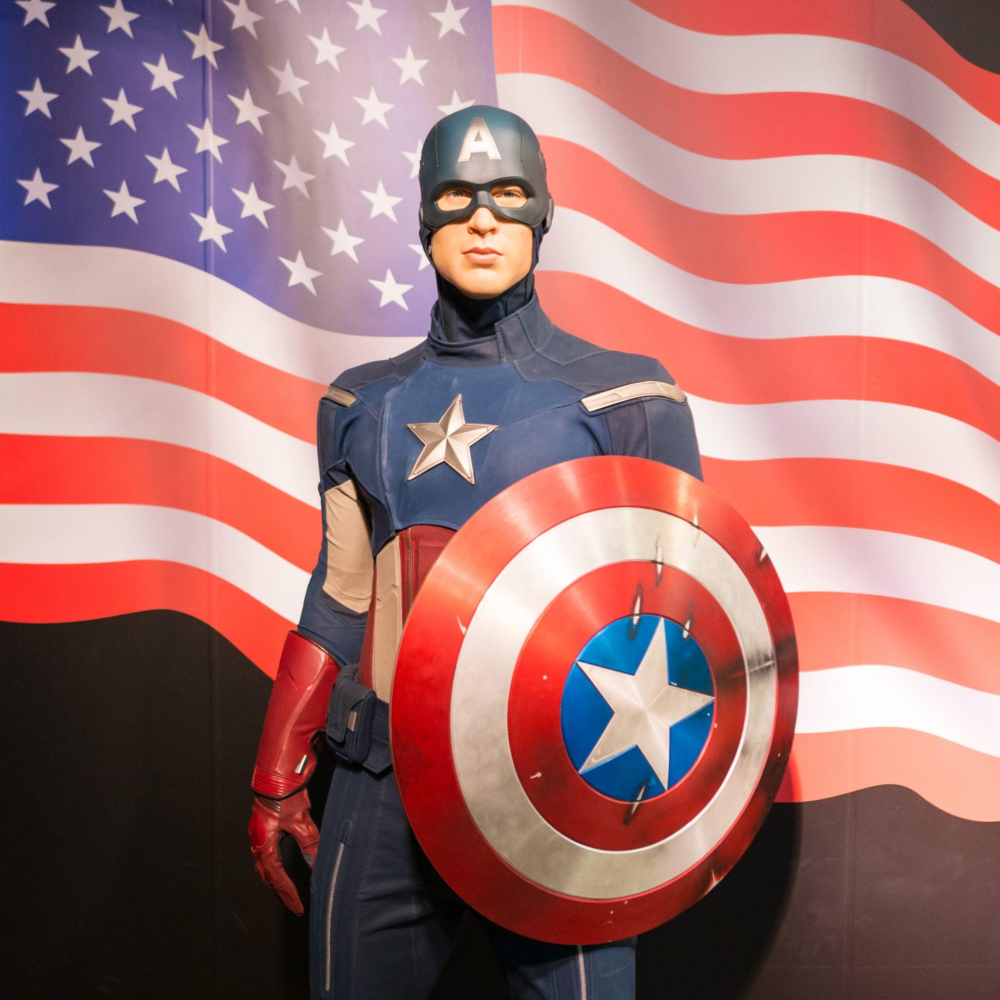 A waxwork of Captain America