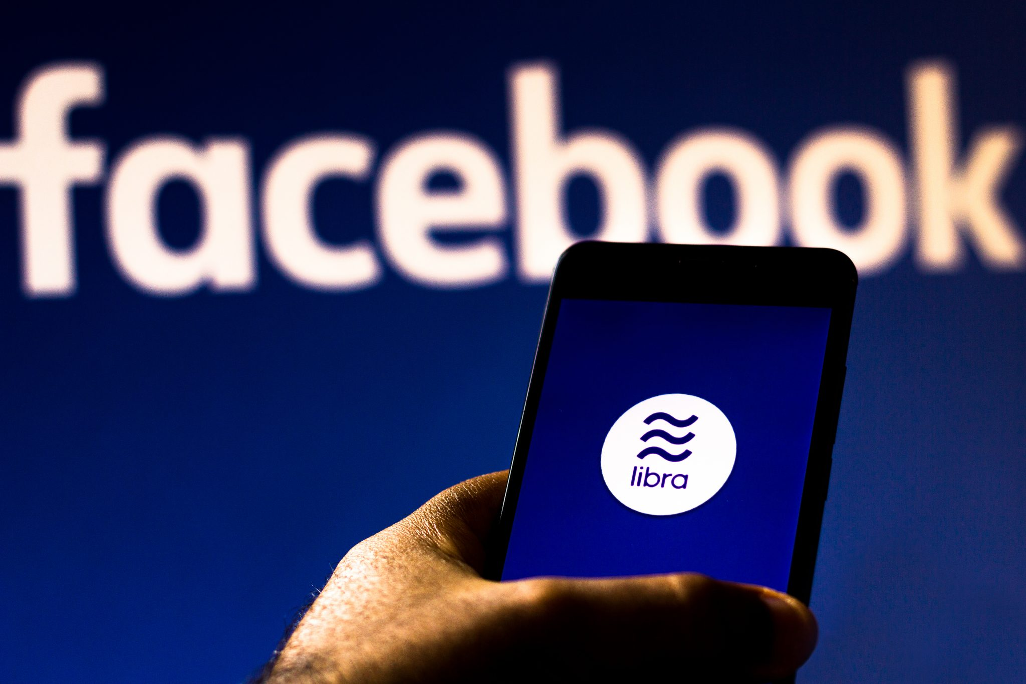 August 20, 2019, Brazil. In this photo illustration the Facebook Libra logo is displayed on a smartphone
