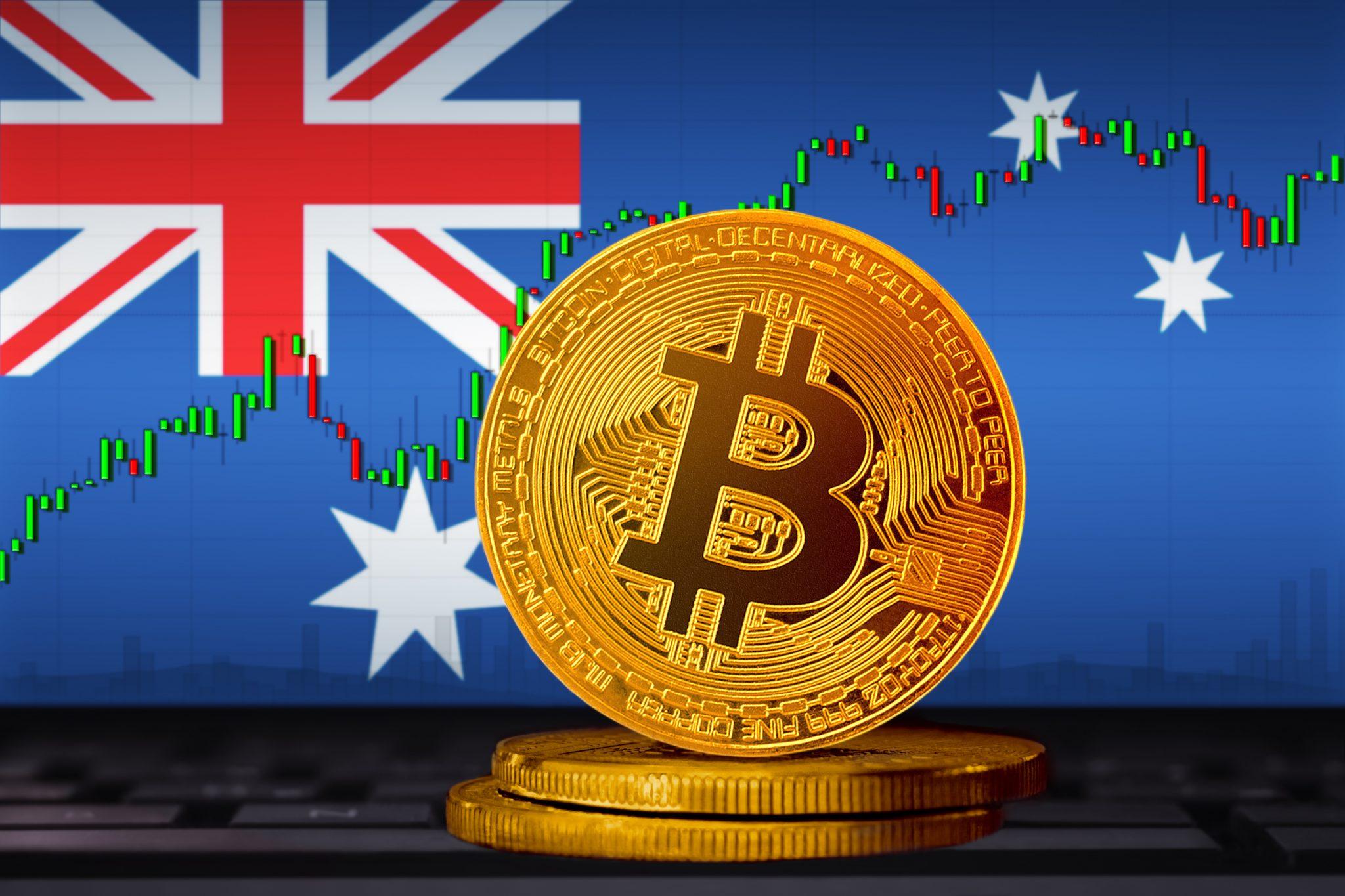 Bitcoin Australia; bitcoin (BTC) coin on the background of the flag of Australia