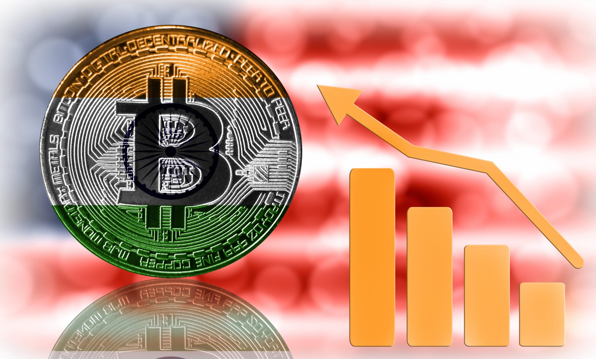 Bitcoin close-up on a blurred background, the India flag is shown on the bitcoin. Also the growth chart is shown.