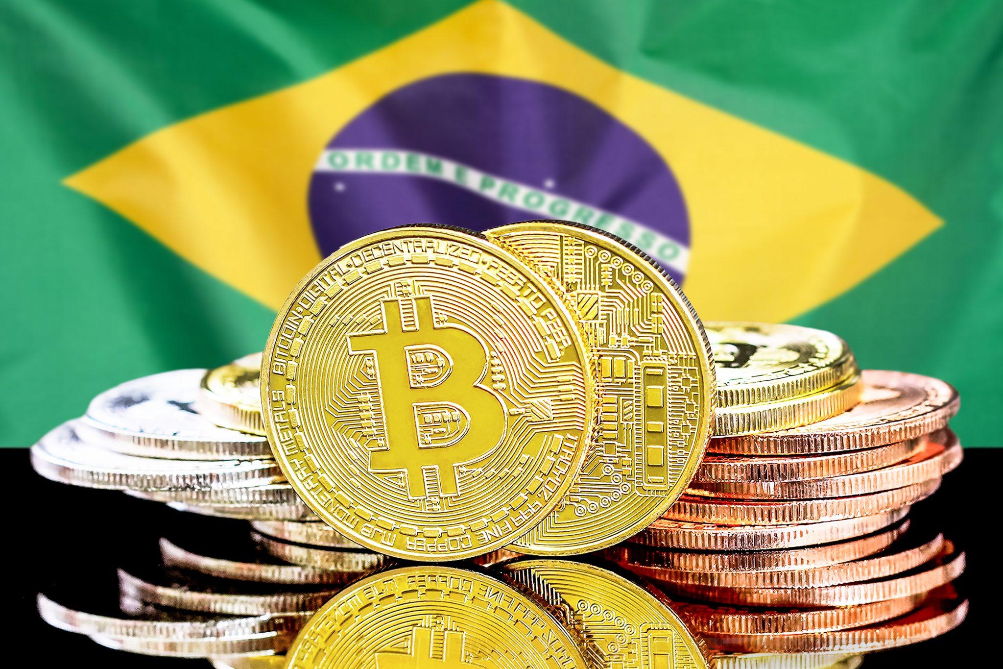 bitcoins on Brazil flag background