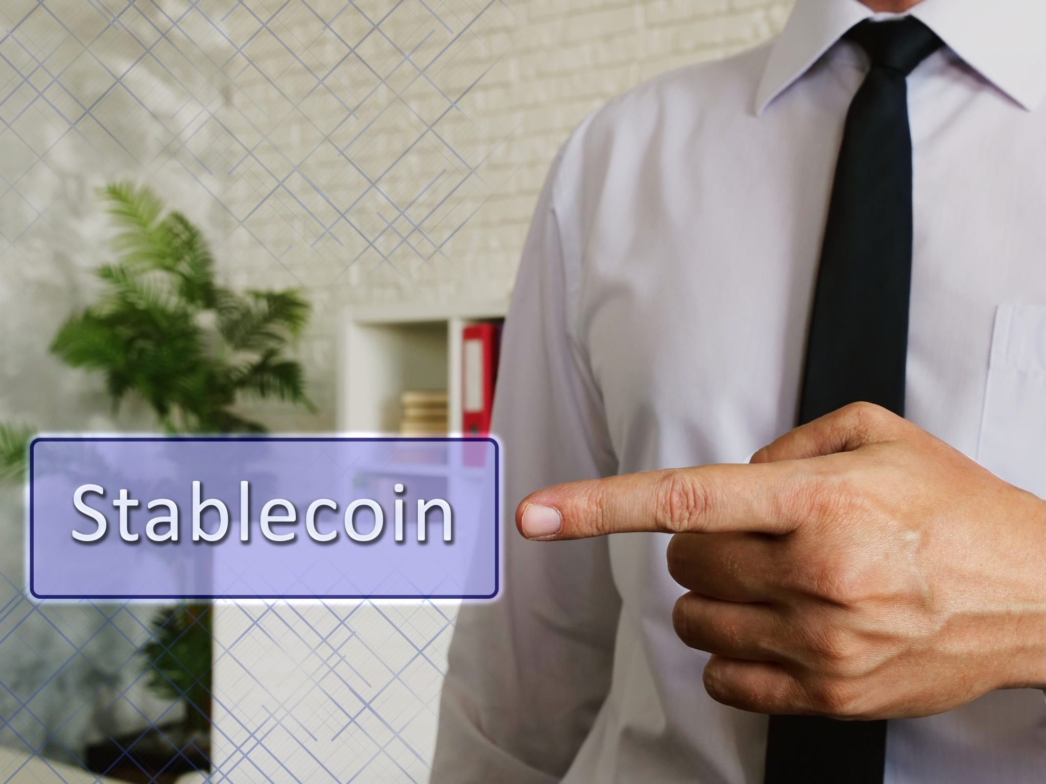 Business concept about Stablecoin with sign on the sheet