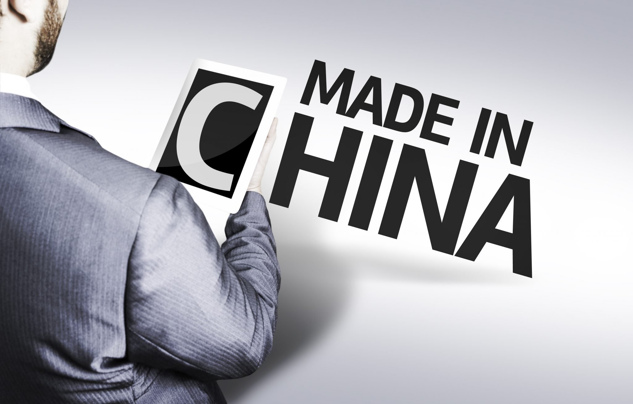 Business man with the text Made In China