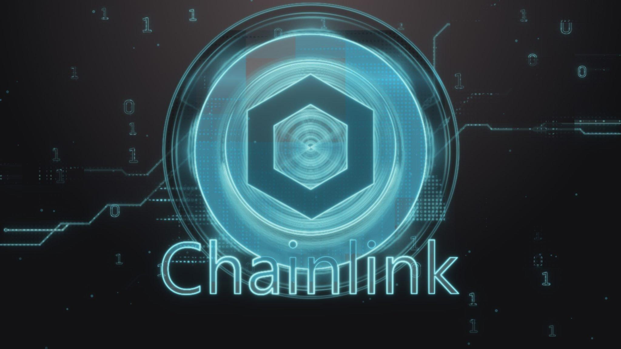 ChainLink (LINK) cryptocurrency symbol. Hi-tech futuristic background illustration.