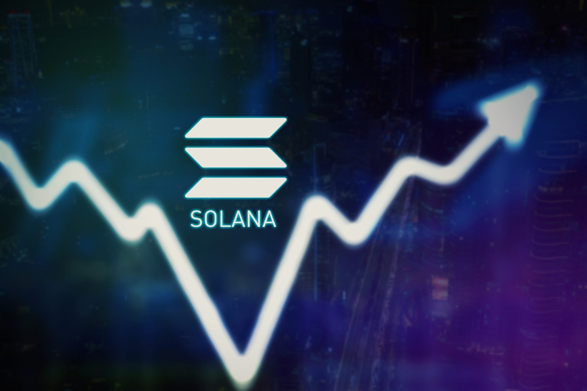Close up of upward arrow and Solana symbol with virtual screen background