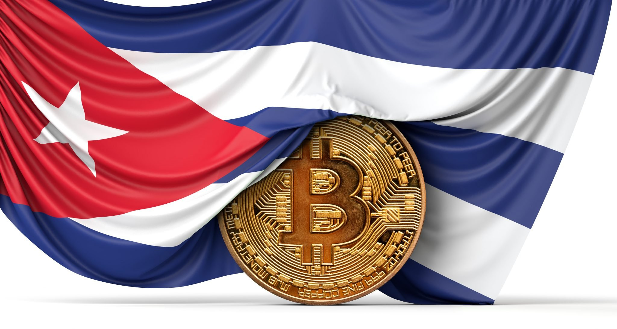 Cuba flag draped over a bitcoin cryptocurrency coin. 3D Rendering