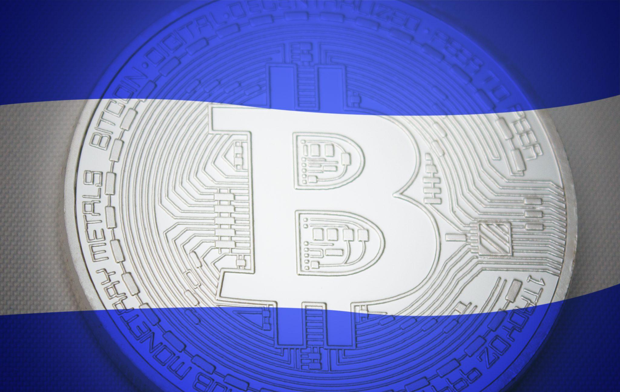 El Salvador flag over bitcoin. El Salvador as first country adopting bitcoin as legal tender concept.