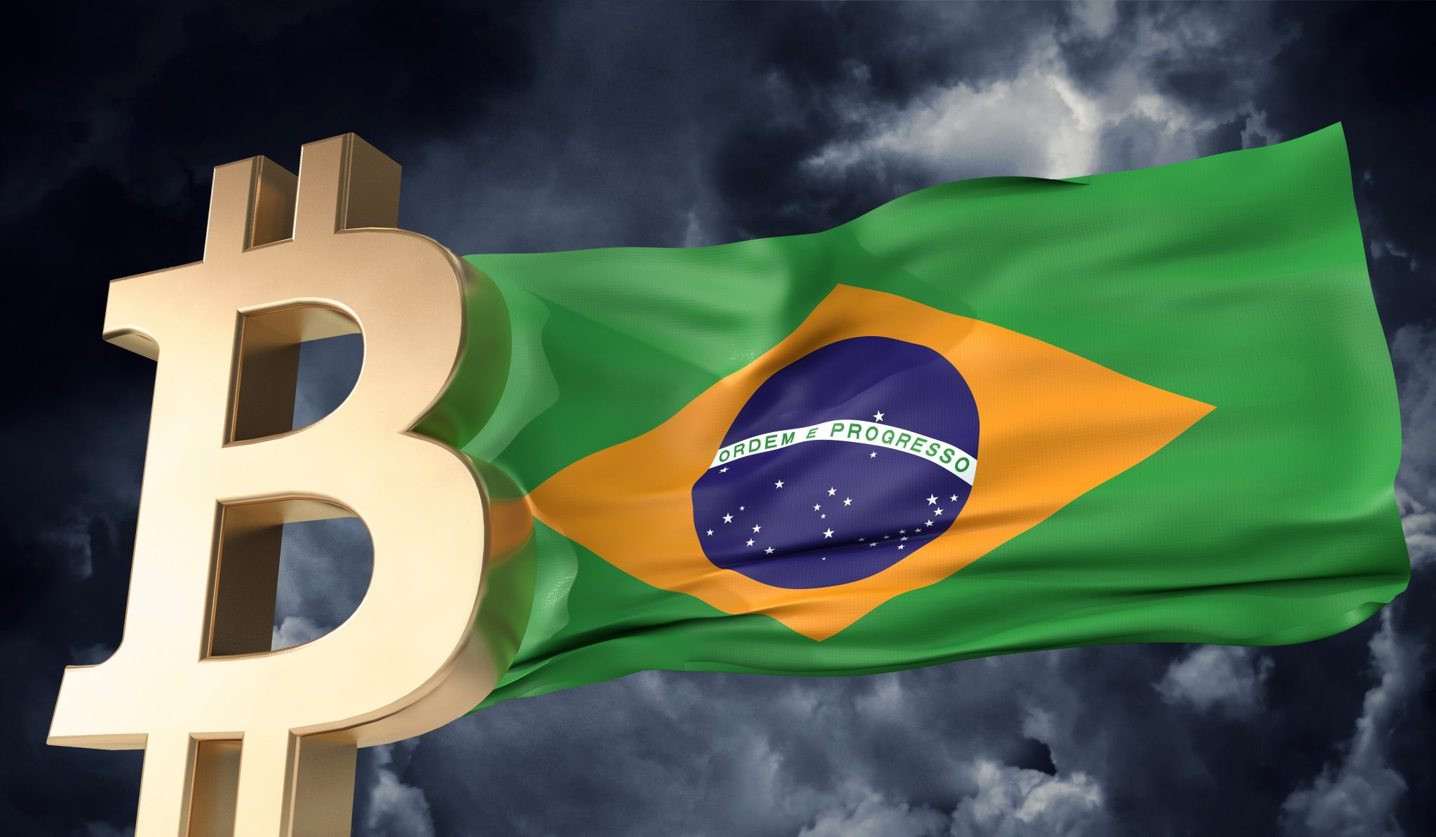 Gold bitcoin cryptocurrency with a waving Brazil flag. 3D Rendering