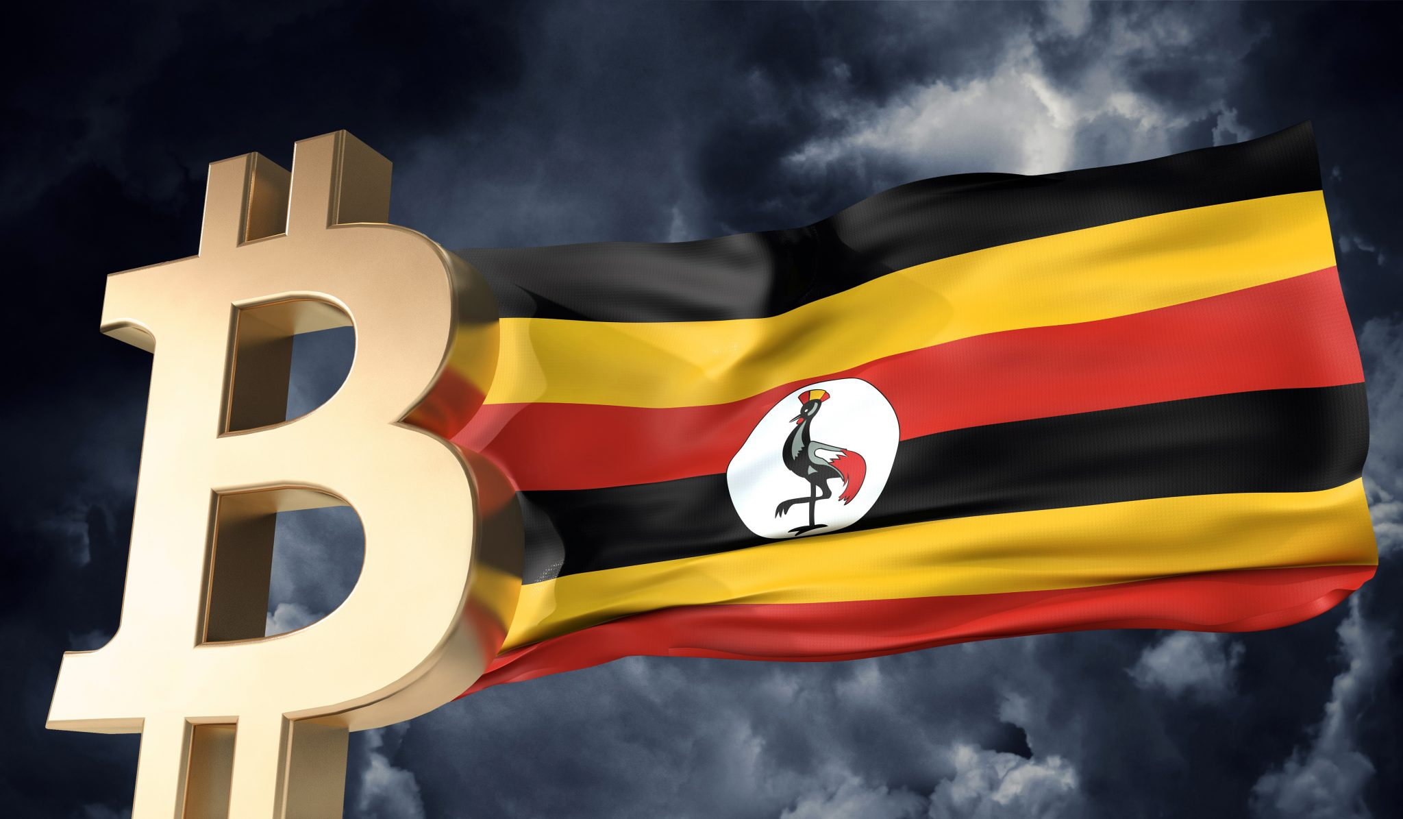 Gold bitcoin cryptocurrency with a waving Uganda flag. 3D Rendering
