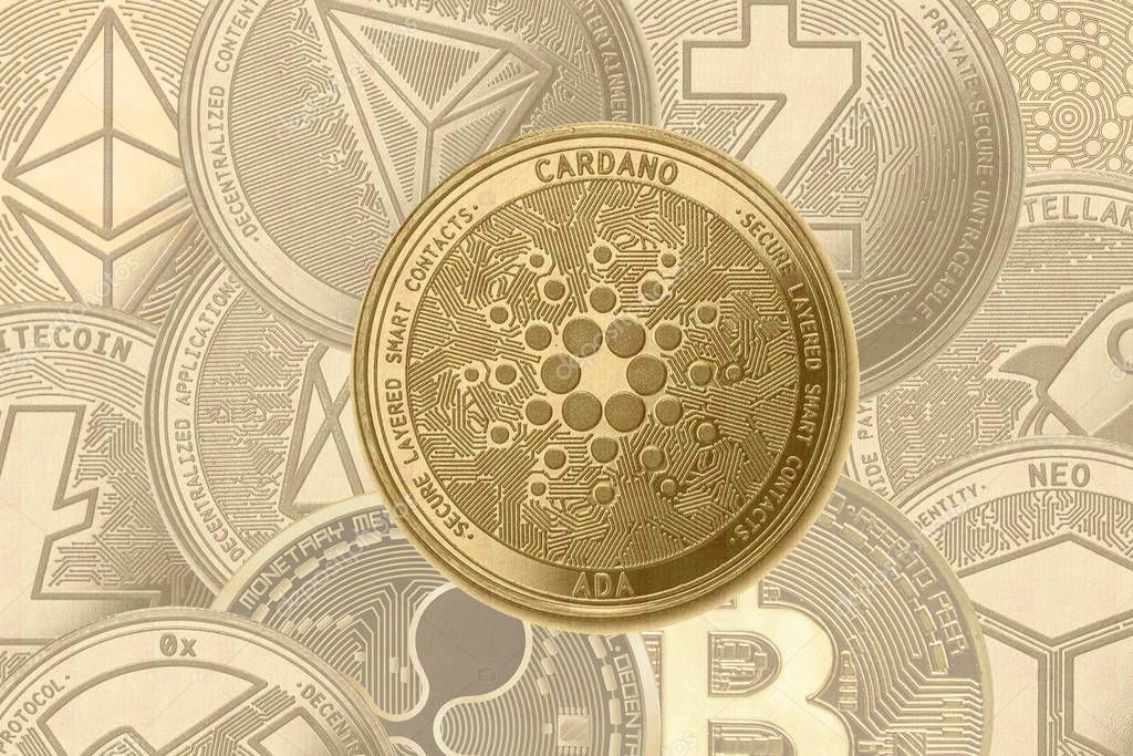 Gold crypto coin Cardano (ada) sign, on the background of shaded coins ethereum, zcash, 0x, stellar, ripple, tron, ripple, NEO, litecoin, iota, eos, bitcoin.