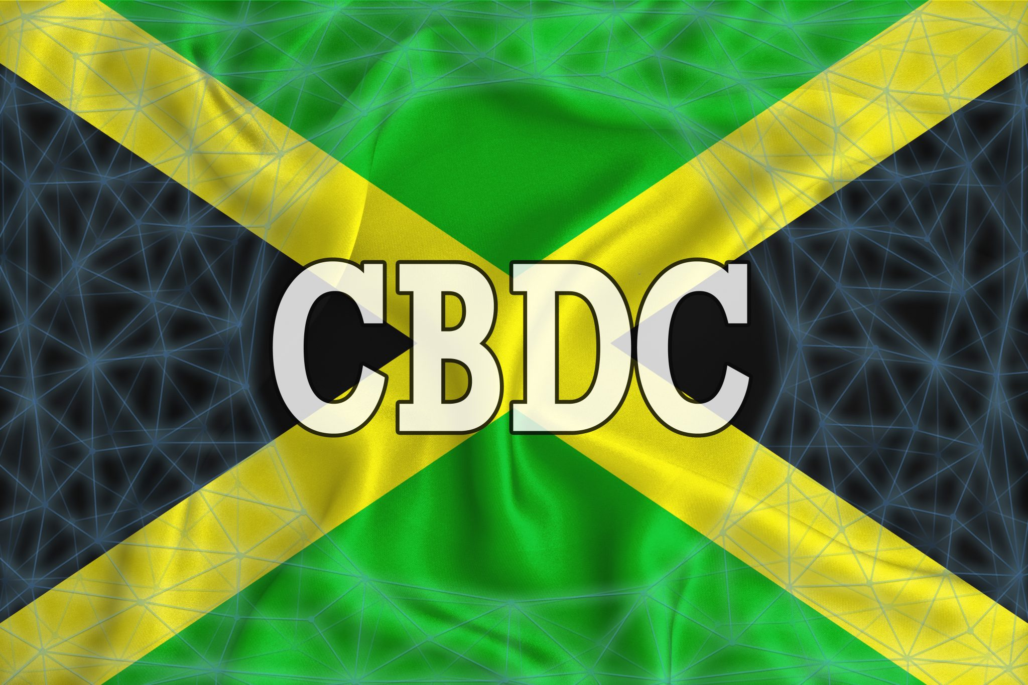 Jamaica flag with the inscription CBDC (Central Bank Digital Currency) and a blockchain grid around. Graphic concept for your design. 3d rendering