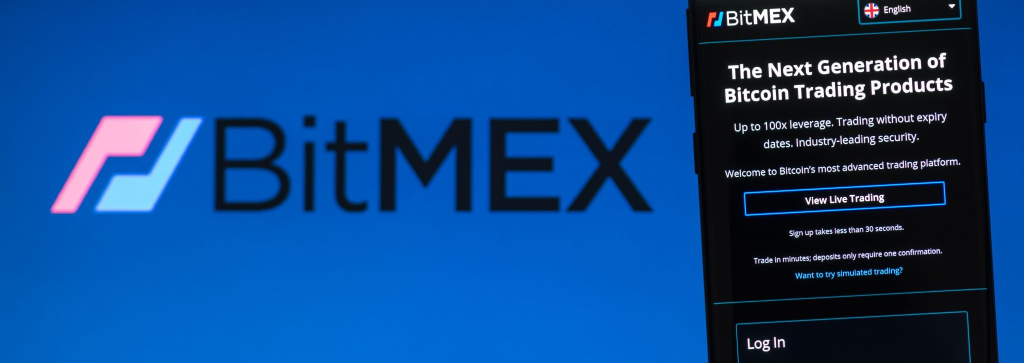 KIEV, UKRAINE - APRIL 2, 2020: BitMEX website displayed on the smartphone screen. BitMEX is a cryptocurrency exchange and derivative trading platform.