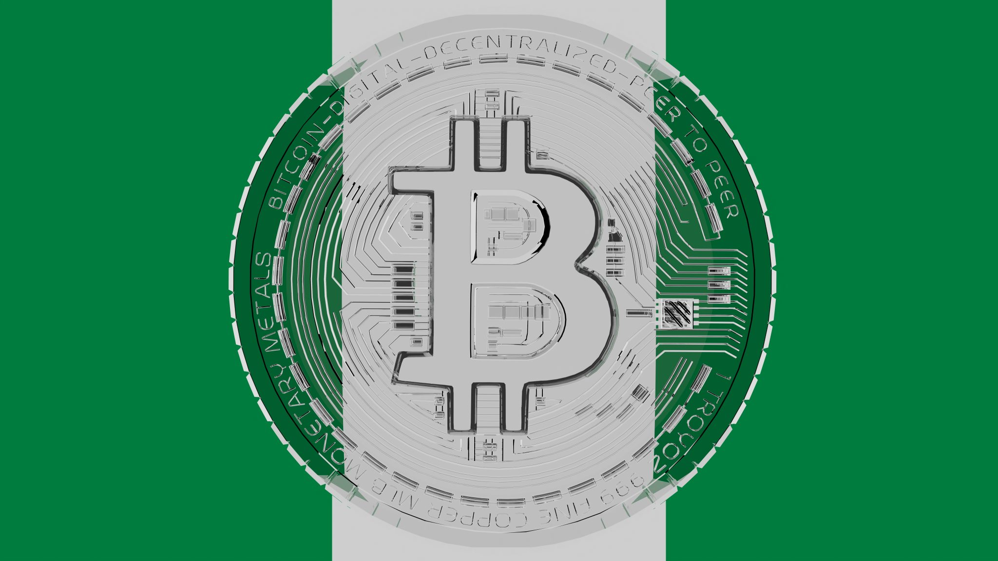 Large transparent Glass Bitcoin in center and on top of the Country Flag of Nigeria