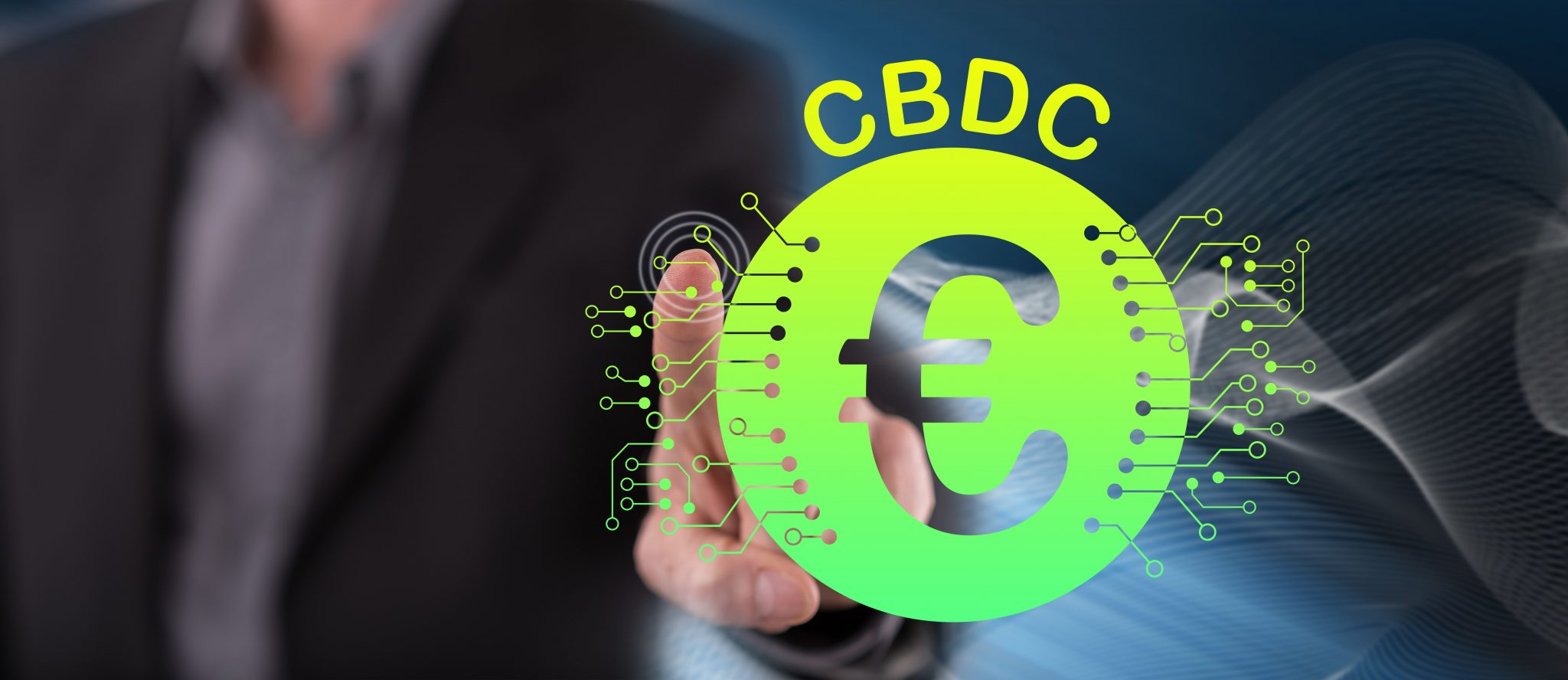 Man touching a cbdc concept on a touch screen with his finger