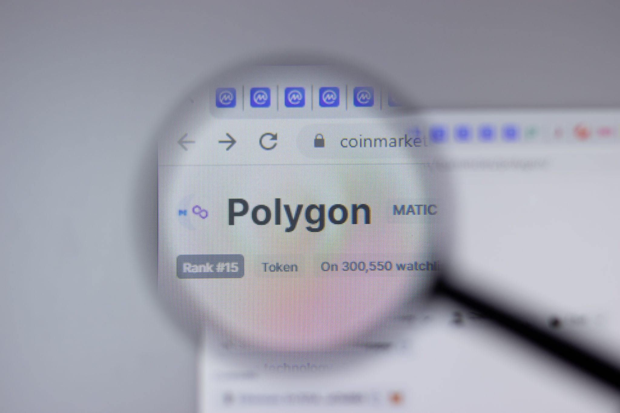 New York, USA - 1 May 2021: Polygon MATIC cryptocurrency logo close-up on website page, Illustrative Editorial
