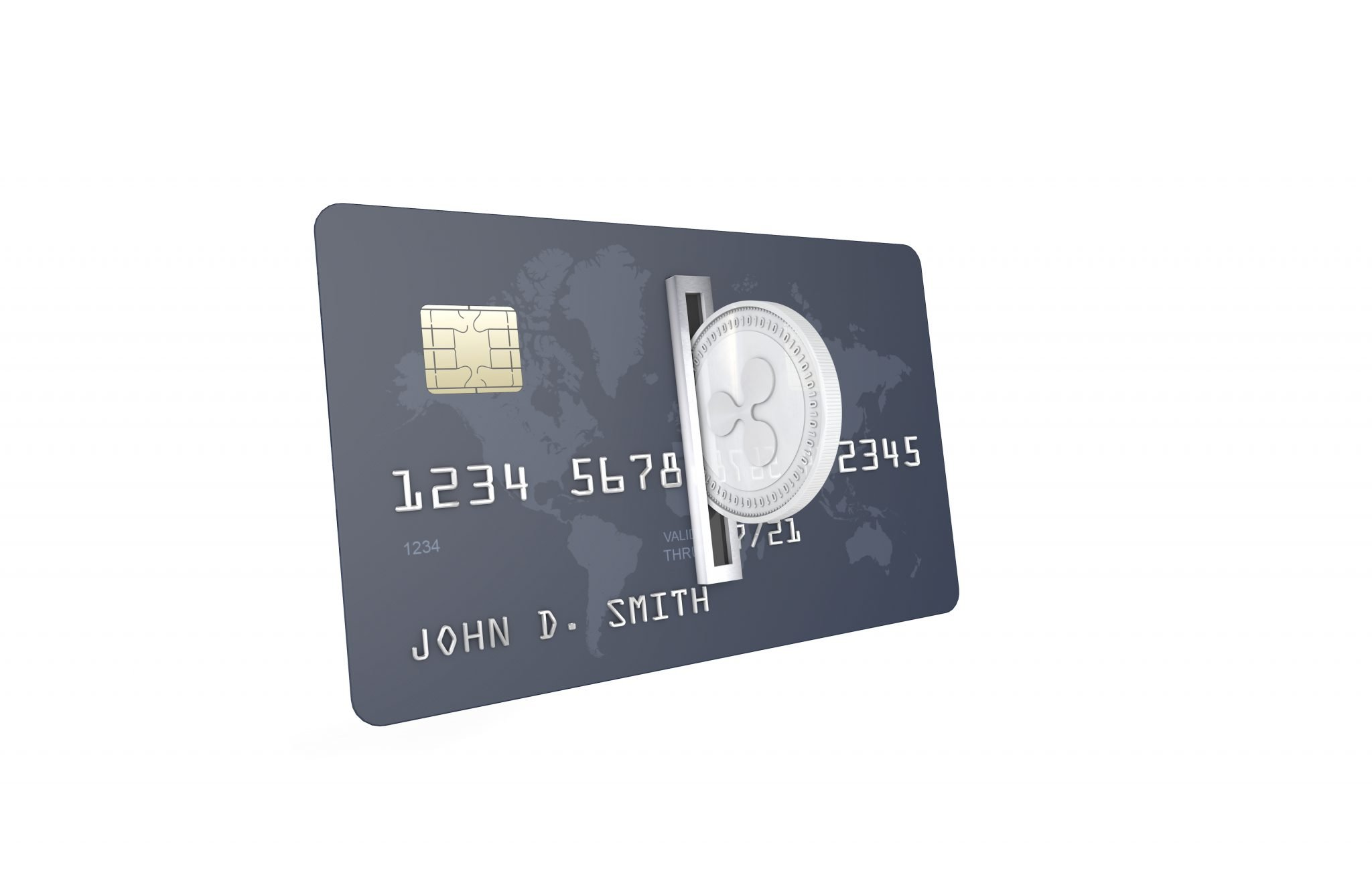 Silver Ripple Coin (XRP) being inserted into coin acceptor on a credit card. Ripple Upload to Bank Account Concept.