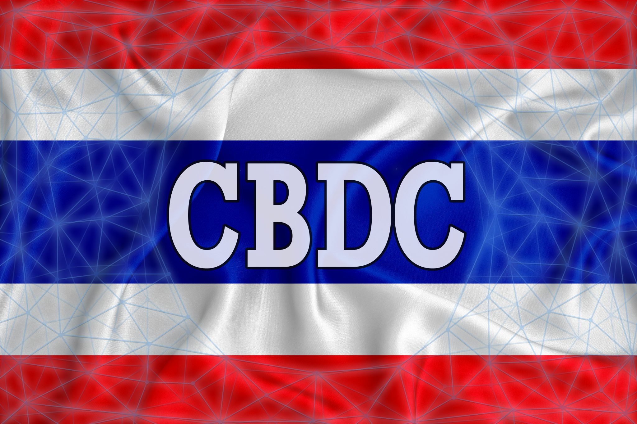 thailand flag with the inscription CBDC (Central Bank Digital Currency) and a blockchain grid around. Graphic concept for your design. 3d rendering