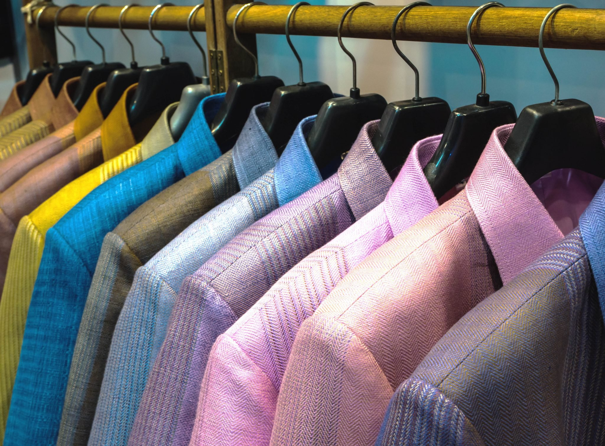 Thailand silk shirt hanging on a clothesline