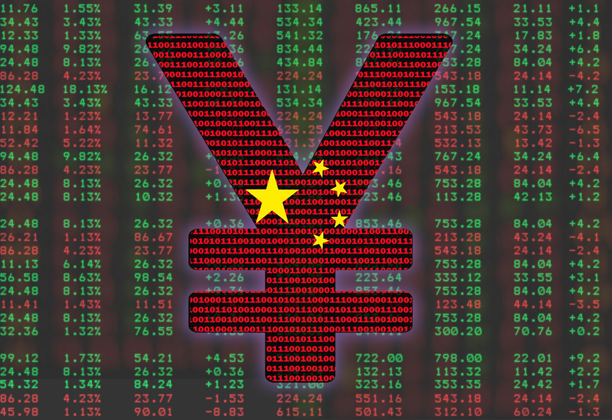 The crypto yuan sign on the background of a cryptocurrency rate scoreboard. The concept of China national cryptocurrency.