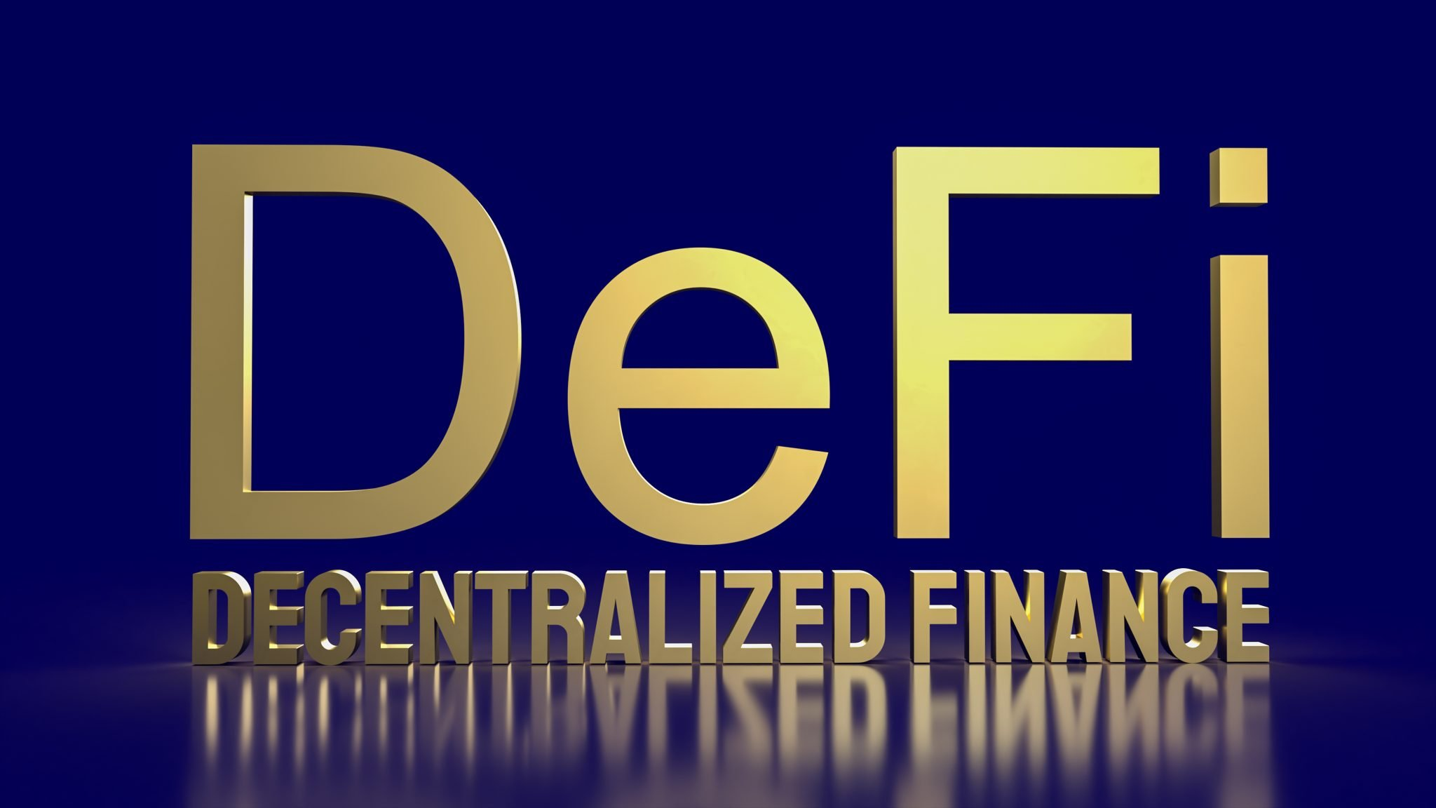 The  defi farming gold word on blue background  for cryptocurrency business concept 3d rendering
