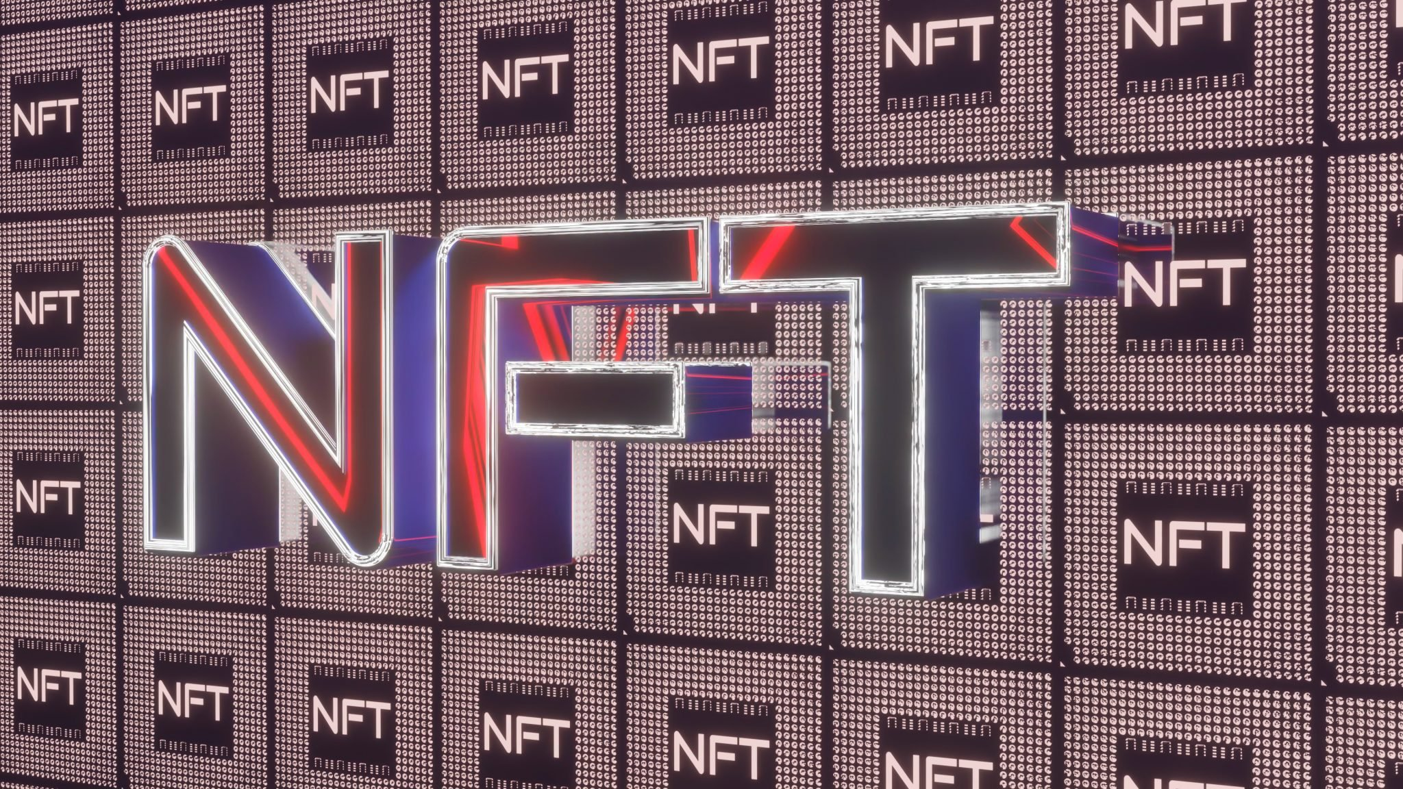 three-dimensional glowing red nft inscription on a dark background. crypto art concept. 3d render illustration