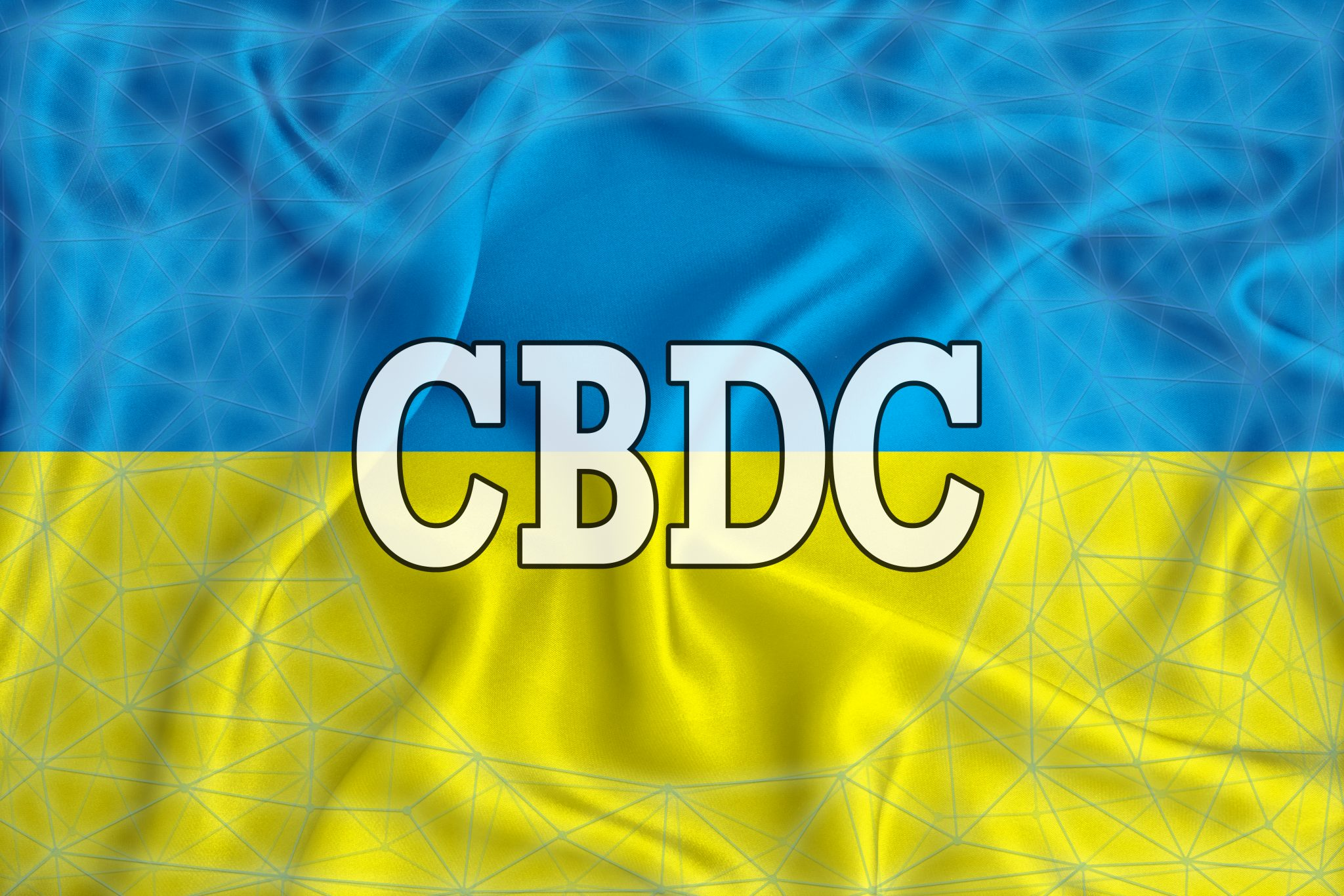 Ukraine flag with the inscription CBDC (Central Bank Digital Currency) and a blockchain grid around. Graphic concept for your design. 3d rendering