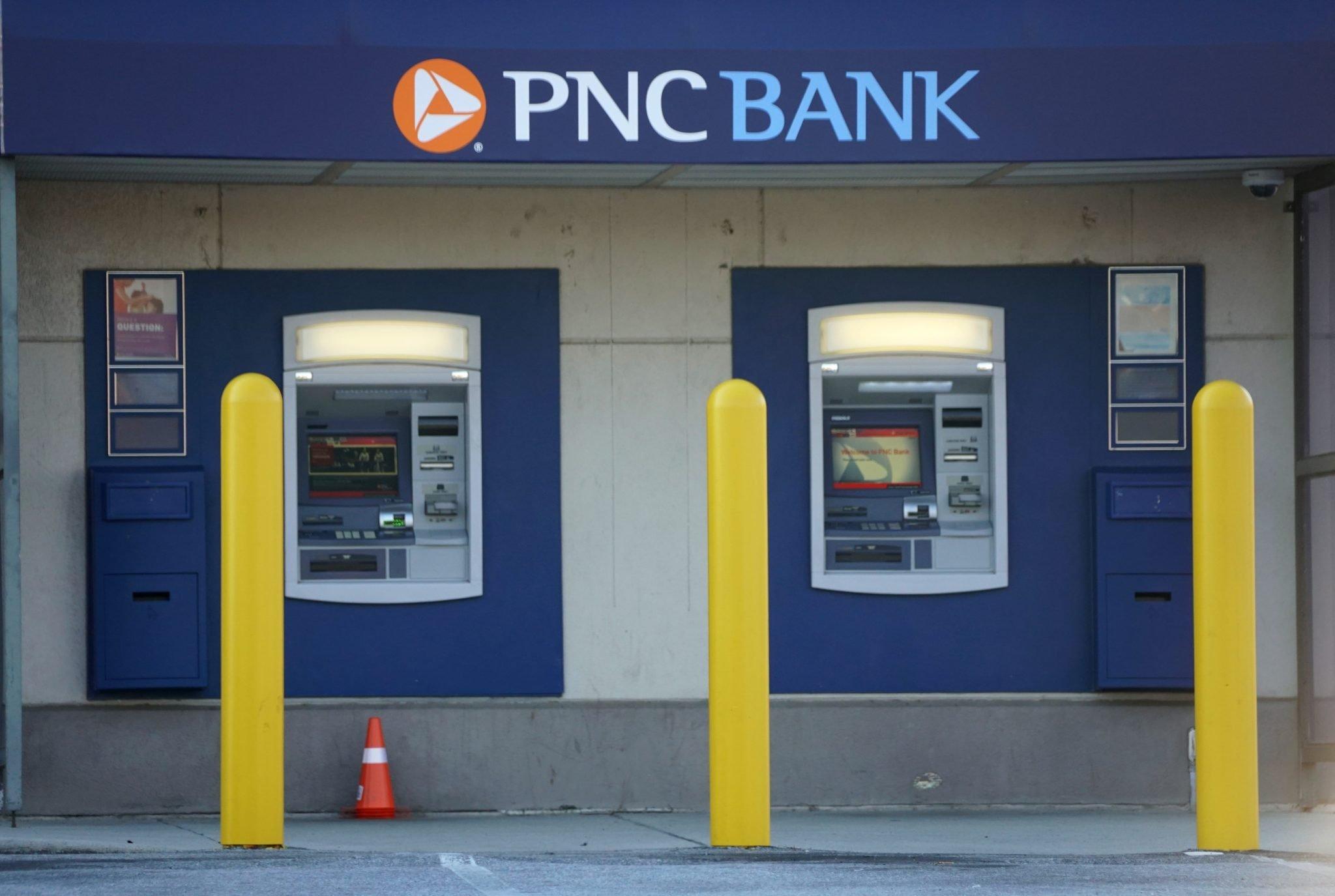 Wilmington, Delaware, U.S.A - June 08, 2021 - PNC Bank ATM machines on Kirkwood Highway