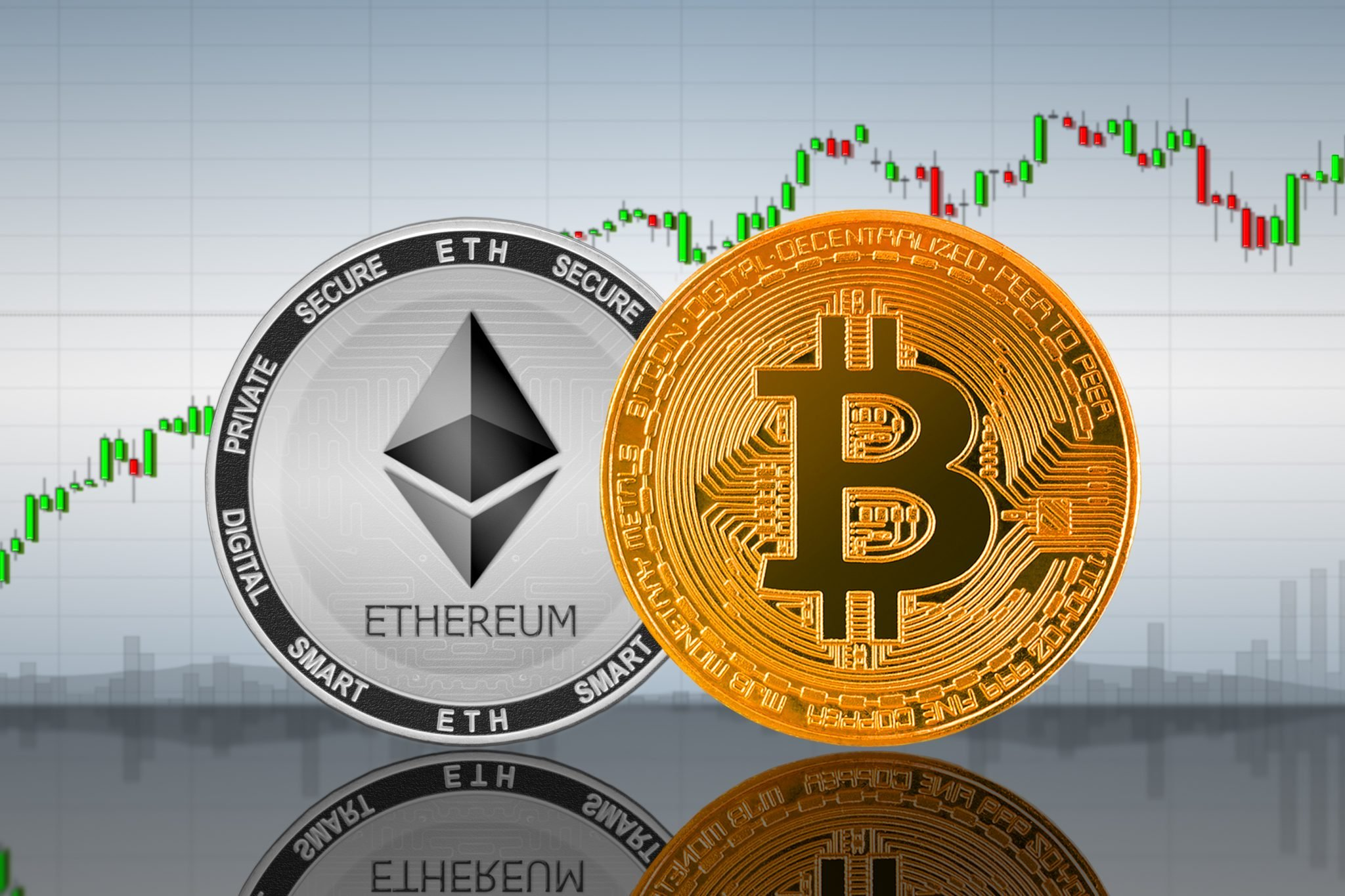 Bitcoin (BTC) and Ethereum (ETH) coins on the background of the chart; bitcoin and ethereum cryptocurrency; crypto exchange