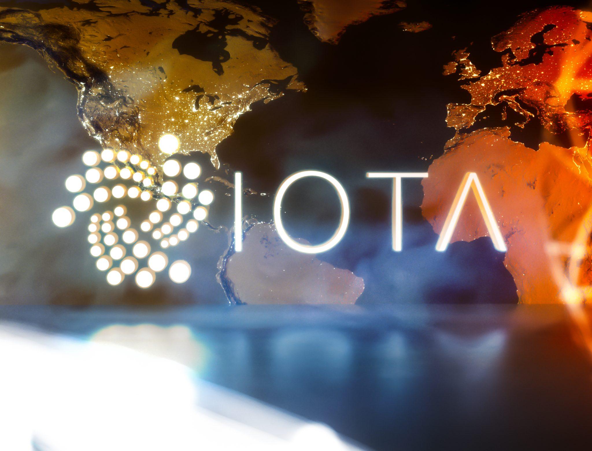 IOTA cryptocurrency with worldmap
